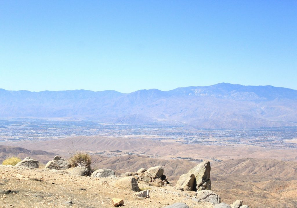 mountains and desert valley (Coachella Valley) from Keys View lookout point at Joshua Tree National Park