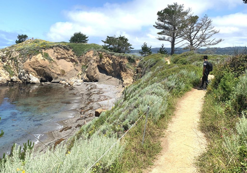 Hiking trail with man in background overlooking ocean