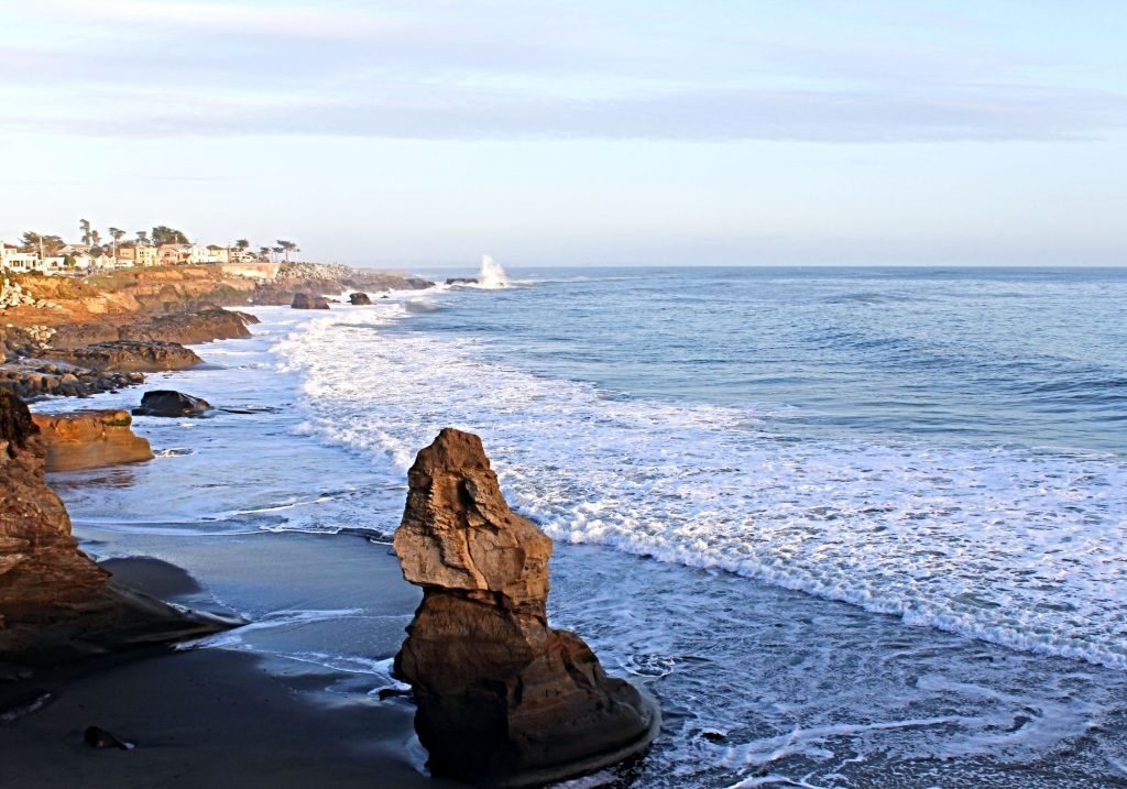 large rock and ocean from west cliff drive in Santa Cruz california