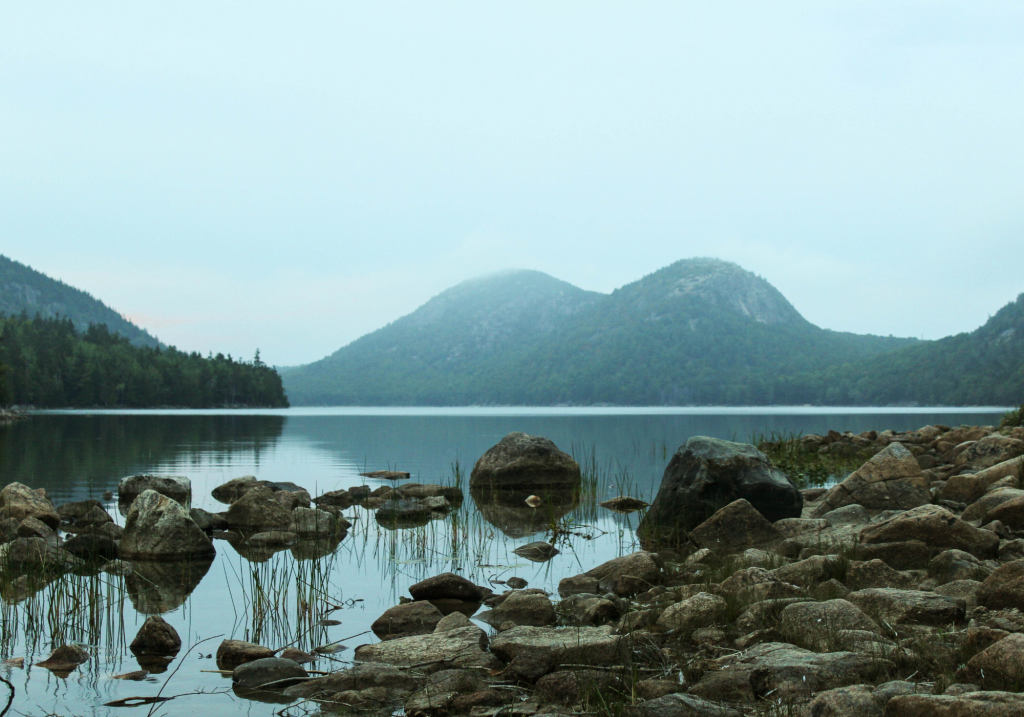 View of Jordan Pond with Bubbles Mountains in Background