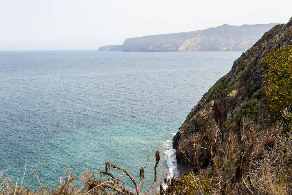 Cliffside view of Pacific Ocean at Santa Cruz Island