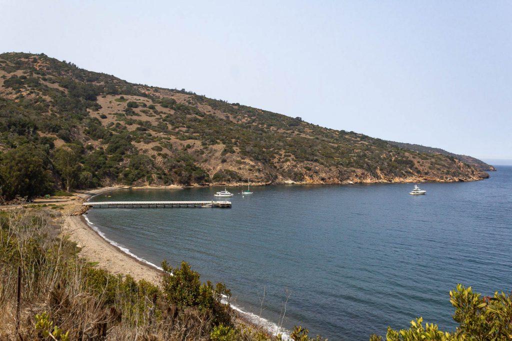View of dock and harbor at Santa Cruz island