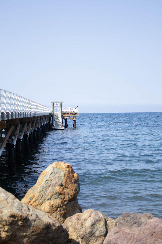 side view of pier at Santa cruz island