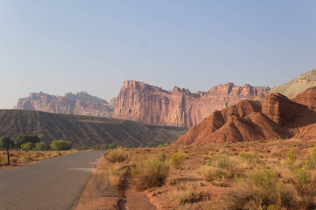View of the road at the start of Capitol Reef National Park's Scenic Drive