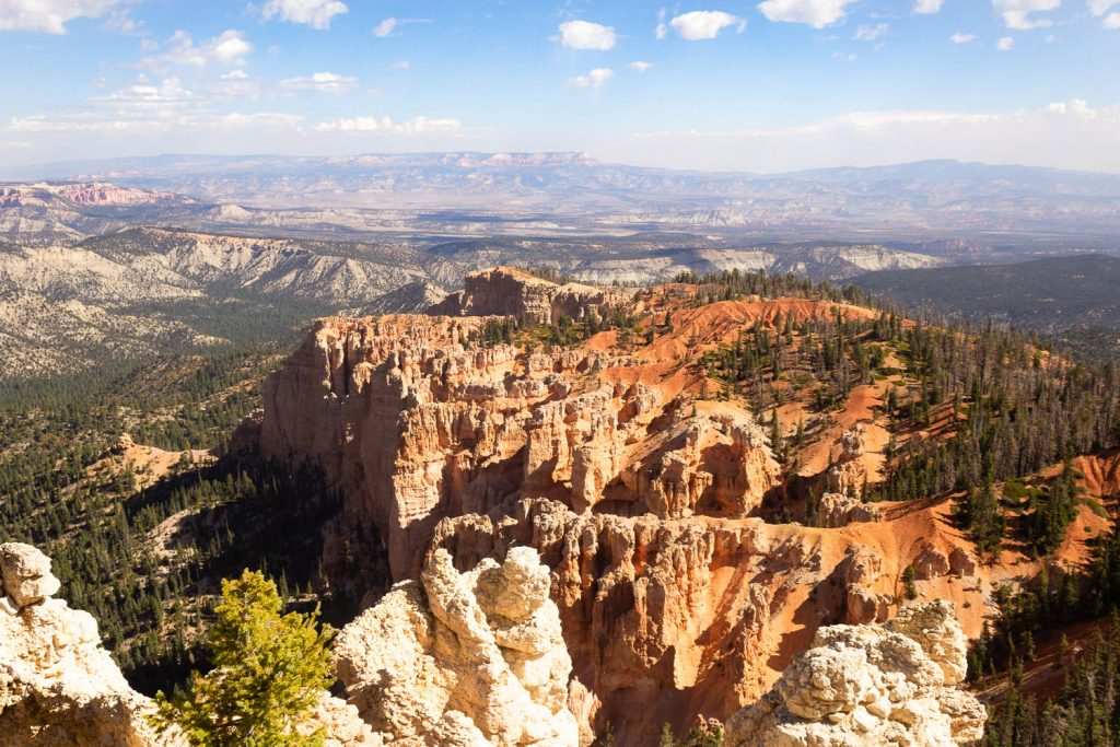 View of hoodoos and trees at Rainbow Point at Bryce Canyon