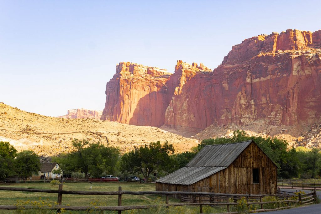 View of the barn at Capitol Reef National Park