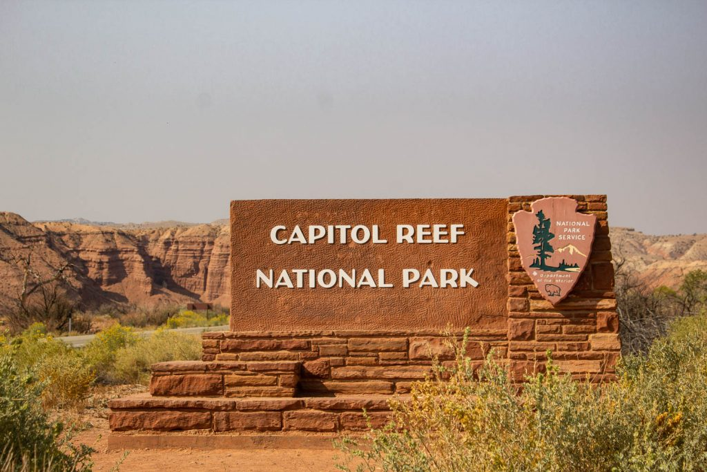 National Park sign that says Capitol Reef National Park